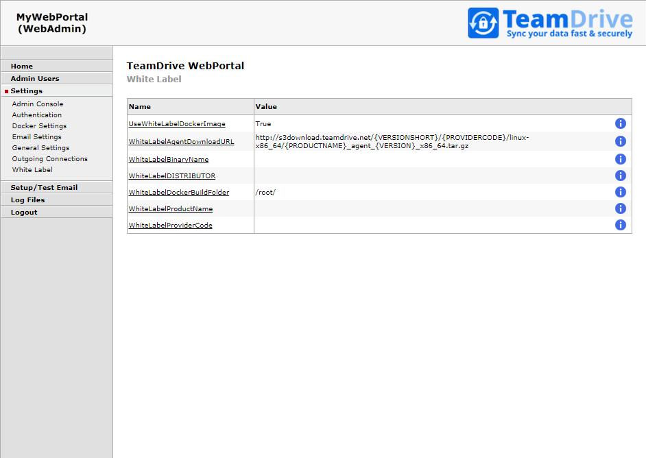 TeamDrive Web Portal Administration — TeamDrive Web Portal 1 2 0 0